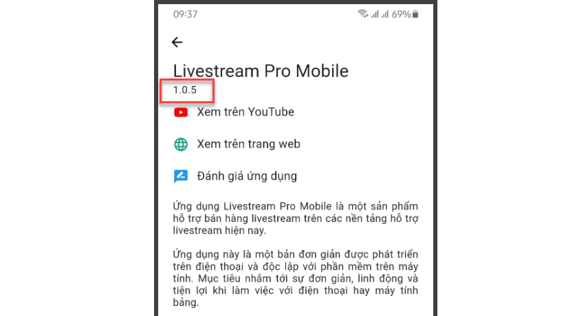 App chốt đơn Livestream Pro Mobile phiên bản 1.0.5