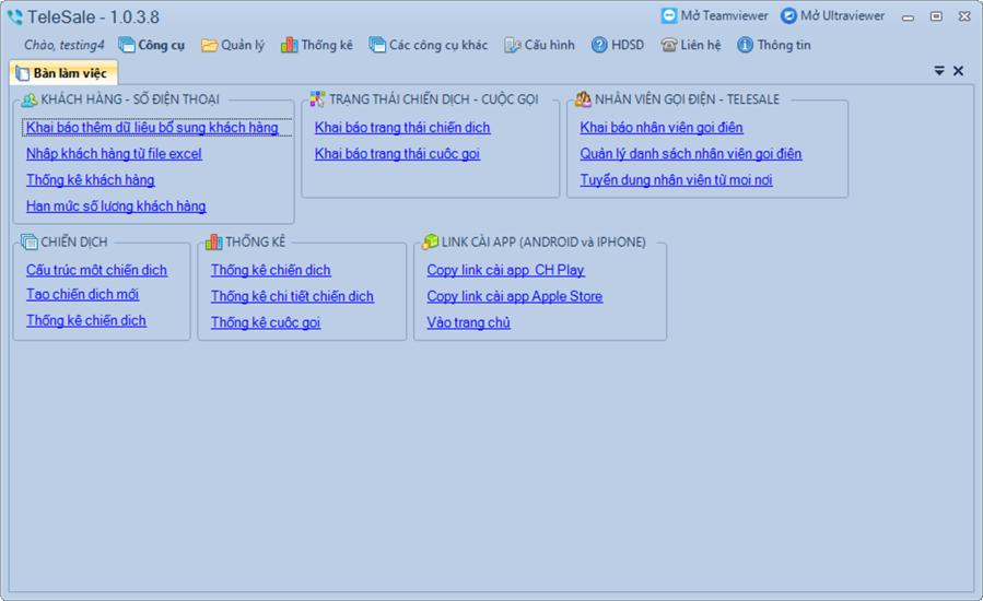 Cập nhật phần mềm TeleSale phiên bản 1.0.3.8