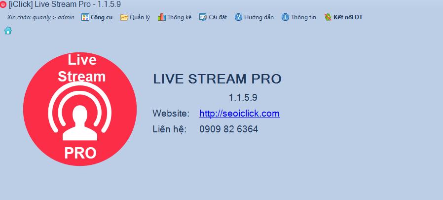 Cập nhật phiên bản 1.1.5.9 phần mềm LiveStream Pro