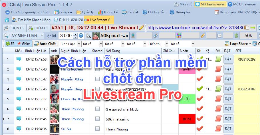 Liên hệ hỗ trợ viên hướng dẫn sử dụng phần mềm Livestream Pro