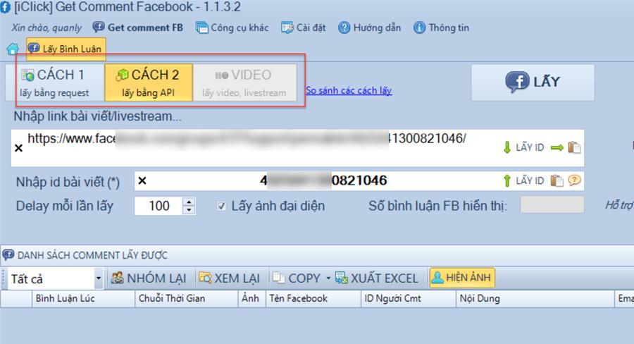 So sánh cách lấy bình luận trong phần mềm Get Comment Facebook