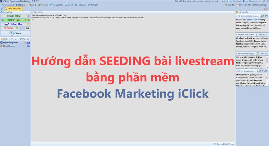 Video hướng dẫn seeding livestream bằng phần mềm Facebook Marketing