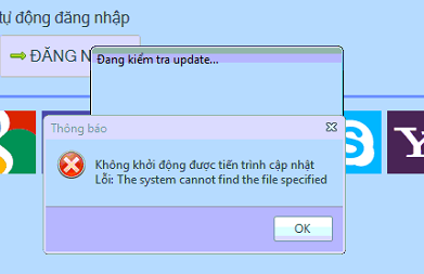 Update iClick gặp lỗi: The system cannot find the file specified