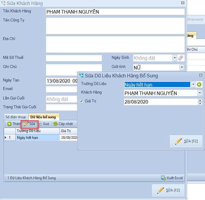 Bổ sung trường dữ liệu khách hàng cho phần mềm Telesale