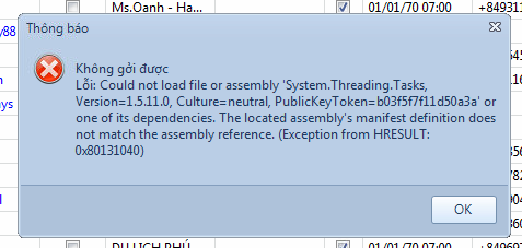 Xử lý lỗi Could not load file or assembly 'System.Threading.Tasks, Version=1.5.11.0