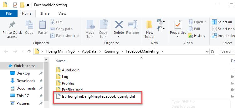Phần mềm Facebook Marketing lưu mật khẩu tài khoản FB nội bộ
