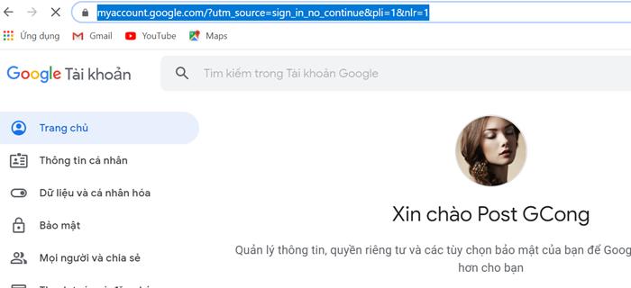 Đăng nhập gmail bằng profile google chrome