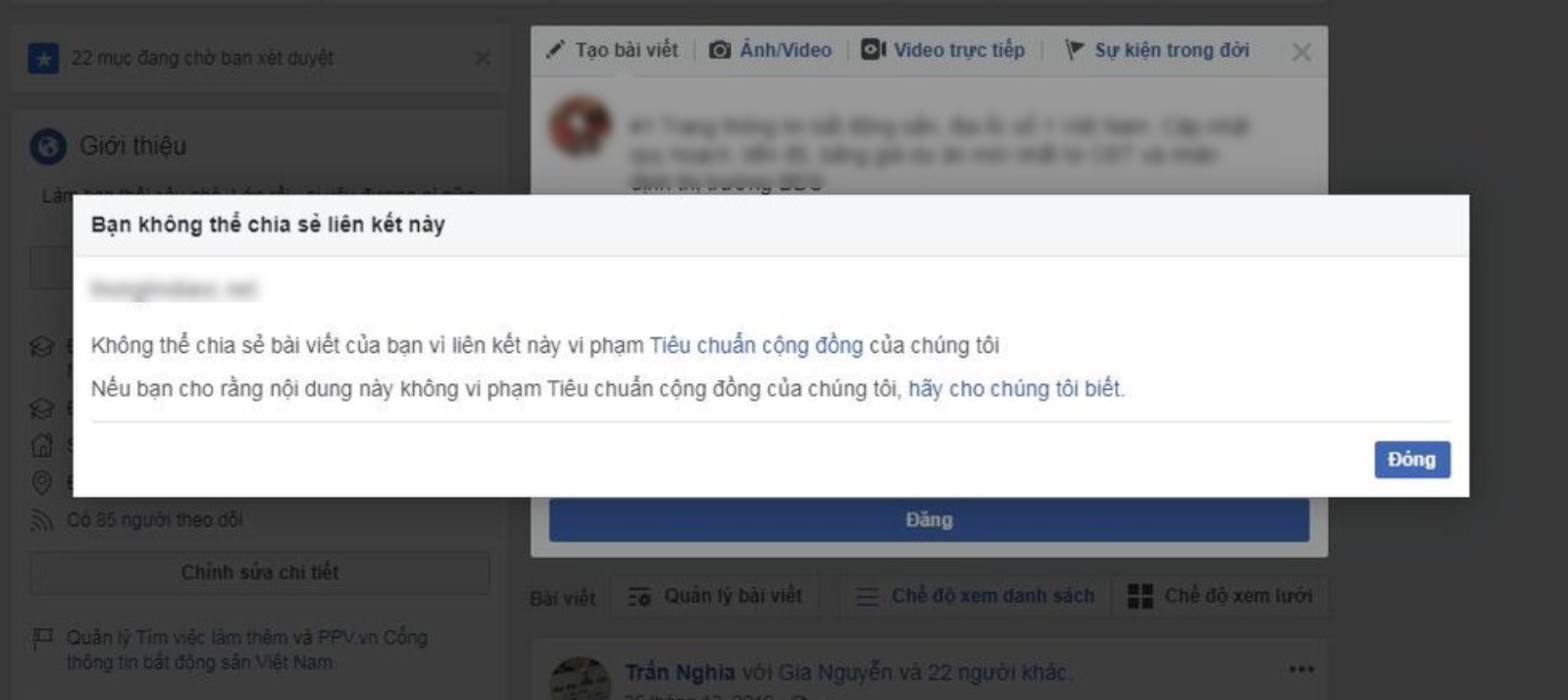 facebook chặn link website