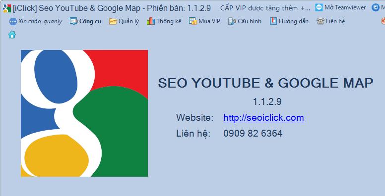 Phần mềm seo Youtube, Google Maps phiên bản 1.1.2.9