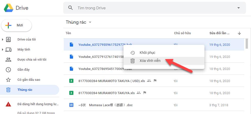 Script xoá tự động thùng rác Google Drive