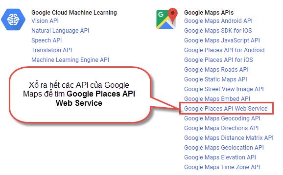Hướng dẫn tạo Google Places API Key để quét địa điểm