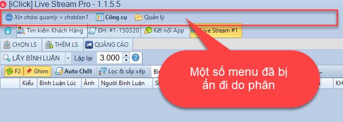 Hướng dẫn phân quyền phần mềm chốt đơn livestream pro