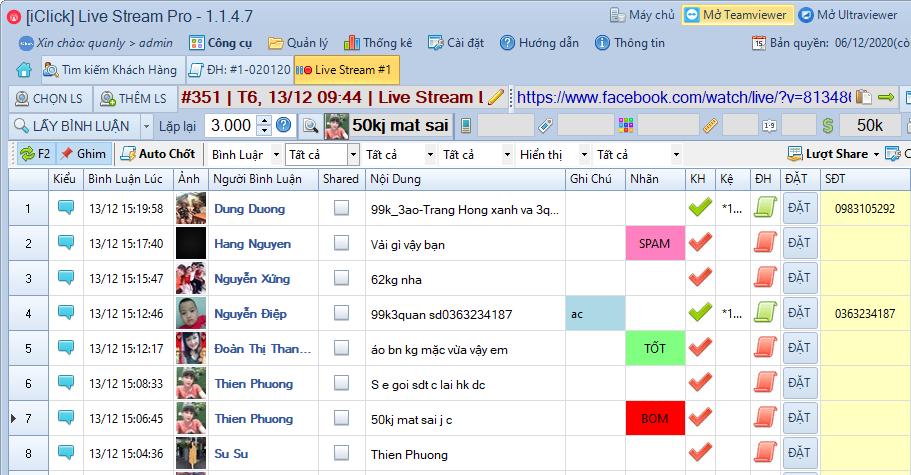 hướng dẫn sử dụng phần mềm chốt đơn livestream pro