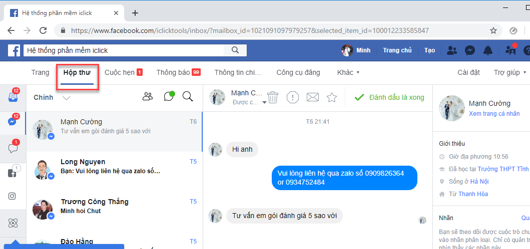 inbox tới khách hàng từ fanpage