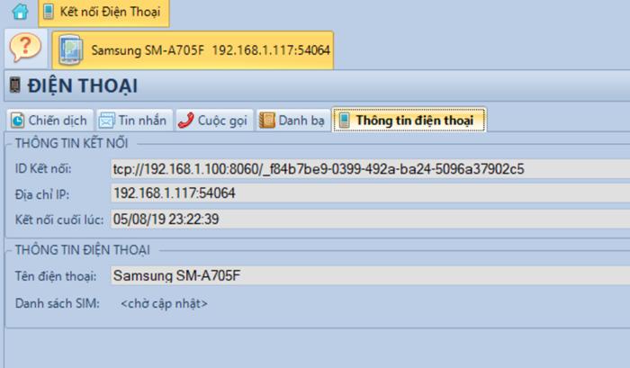 Kết nối điện thoại với máy tính và điện thoại SMS Pro