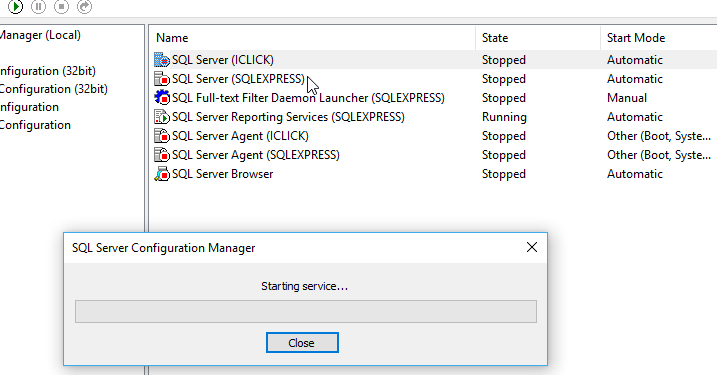 khởi động service SQL Server