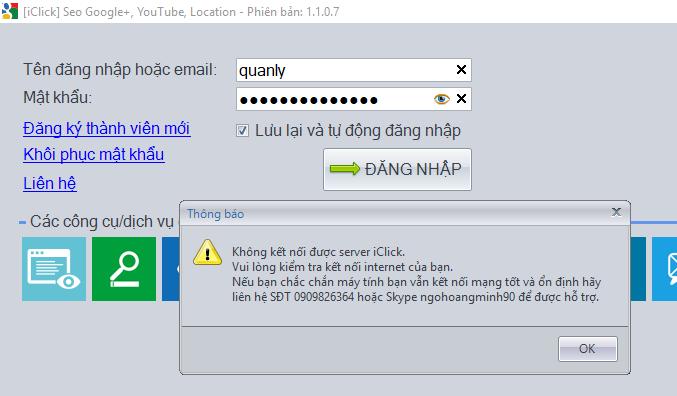 Không vào được phần mềm seo g+, youtube, location