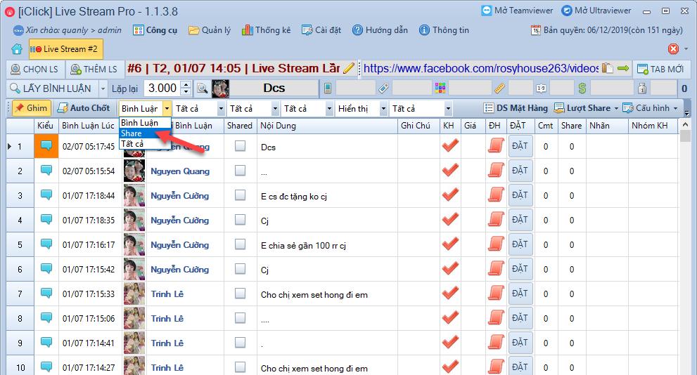 Kiểm tra lượt share livestream