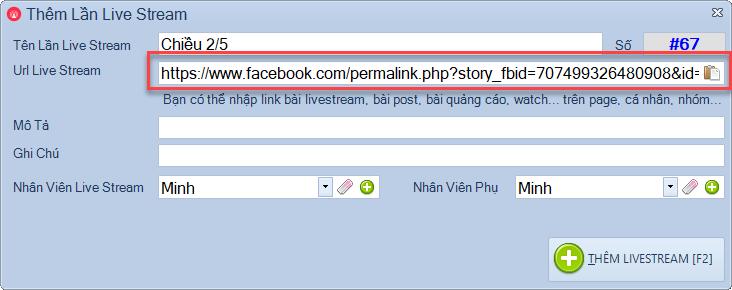 Lấy bình luận livestream trên trang cá nhân