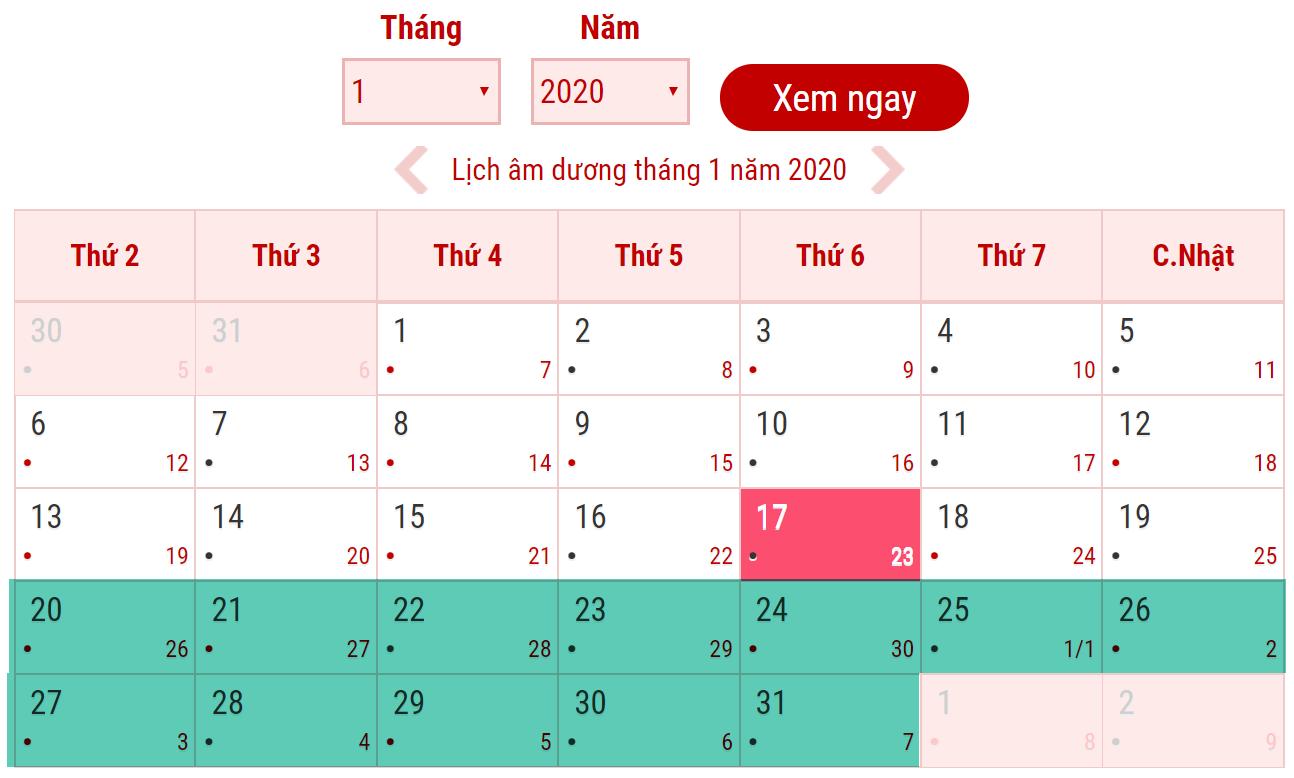 Lịch nghỉ tết âm lịch năm 2020