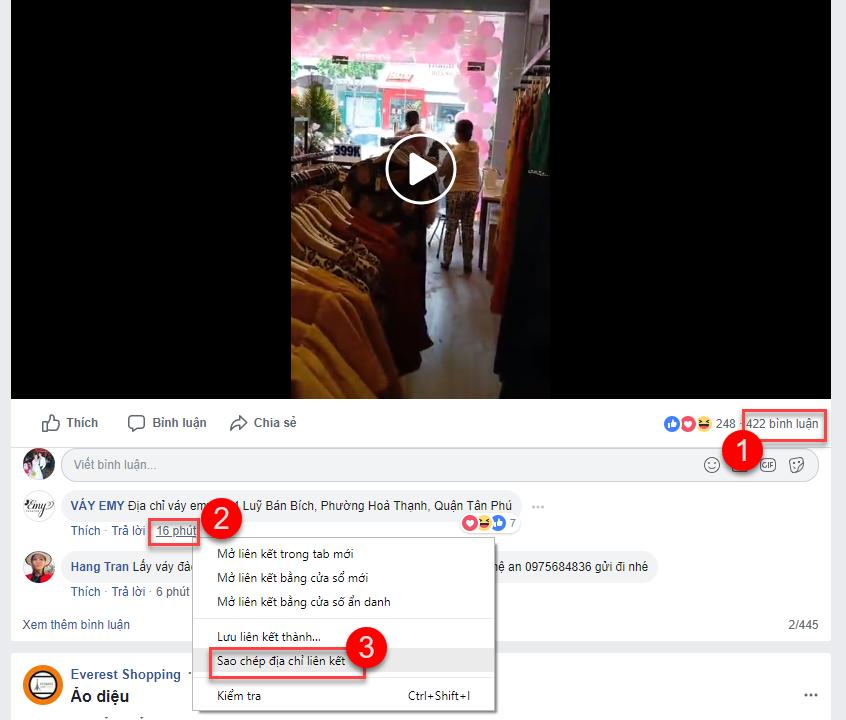 Không lấy được bình luận bài viết trên Facebook