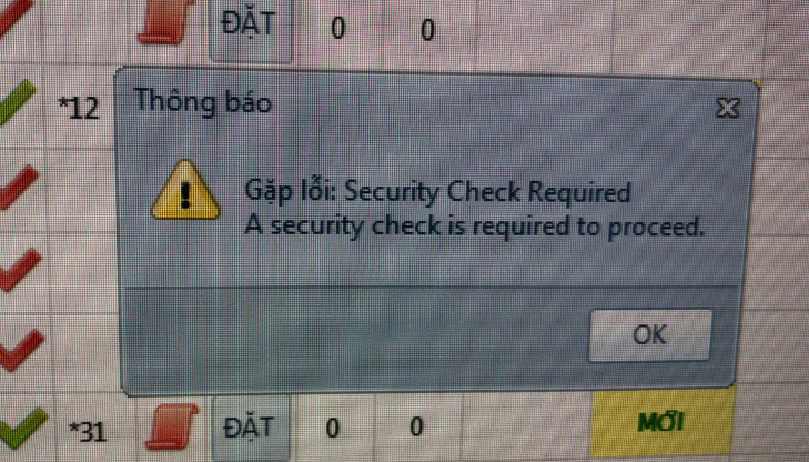Lấy bình luận gặp lỗi Security Check Required