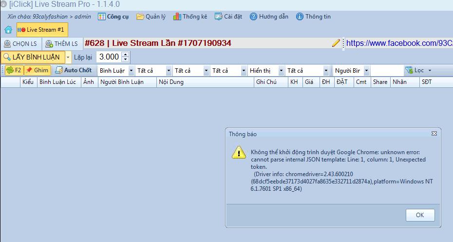 Sửa lỗi không mở được Chrome lấy được bình luận livestream