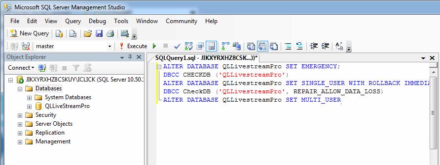 Lỗi suspect sql database