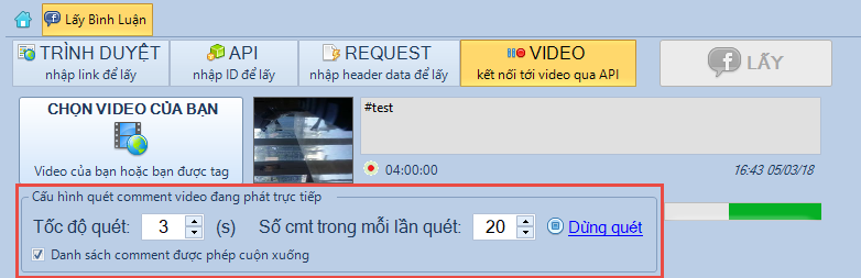 Lấy bình luận real time live stream