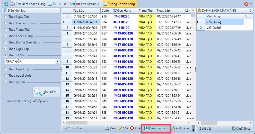 Nâng cấp phần mềm chốt đơn livestream 1.1.5.1