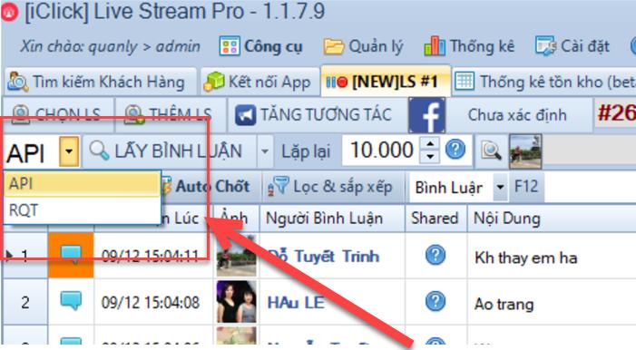 Nâng cấp phần mềm chốt đơn livestream facebook