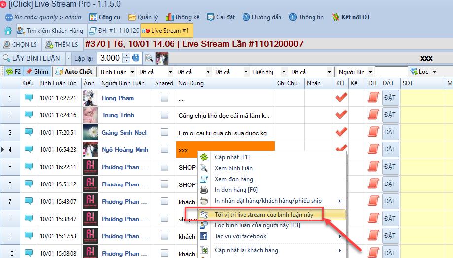 Nâng cấp phần mềm chốt đơn Livestream phiên bản 1.1.5.0