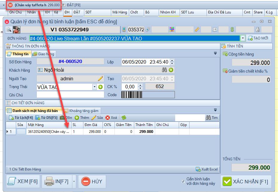 Nâng cấp phần mềm chốt đơn livestream pro phiên bản 1.1.5.8