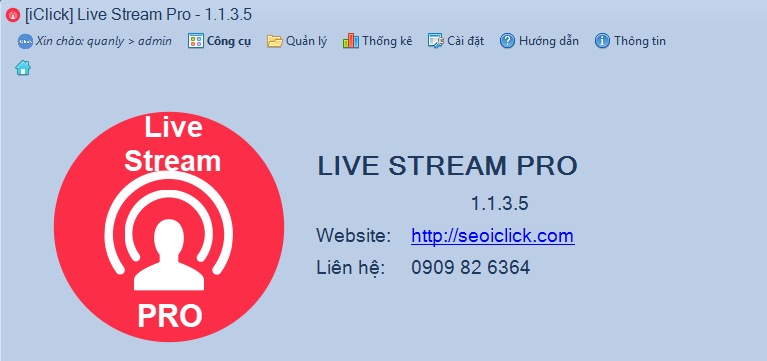 Cập nhật phiên bản 1.1.3.5 phần mềm LiveStream Pro