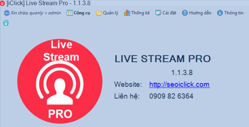 Cập nhật phiên bản 1.1.3.8 phần mềm LiveStream Pro