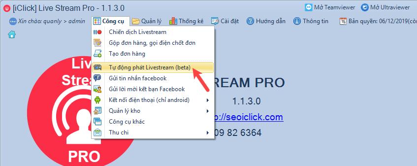 Nâng cấp phần mềm livestream pro