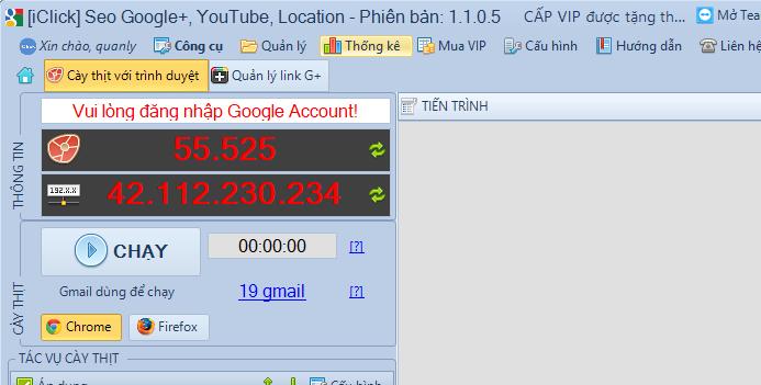 Nâng cấp phần mềm Seo Google+, Youtube, Location phiên bản 1.1.0.5