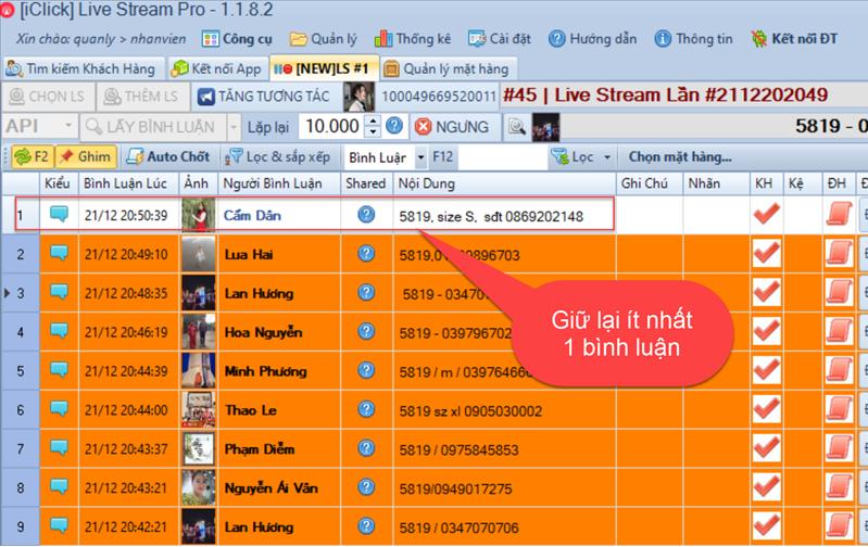 Phần mềm chốt đơn livestream 1.1.8.2