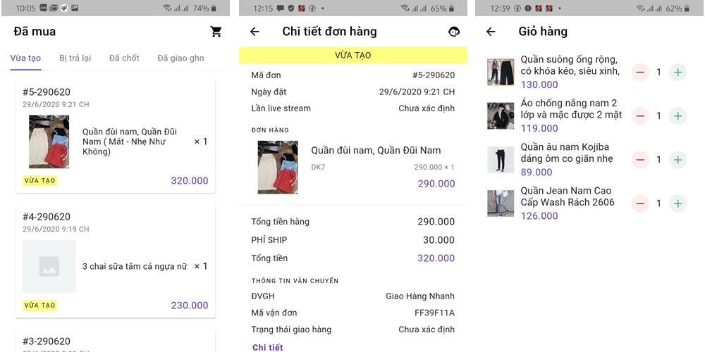App dành cho khách hàng livestream