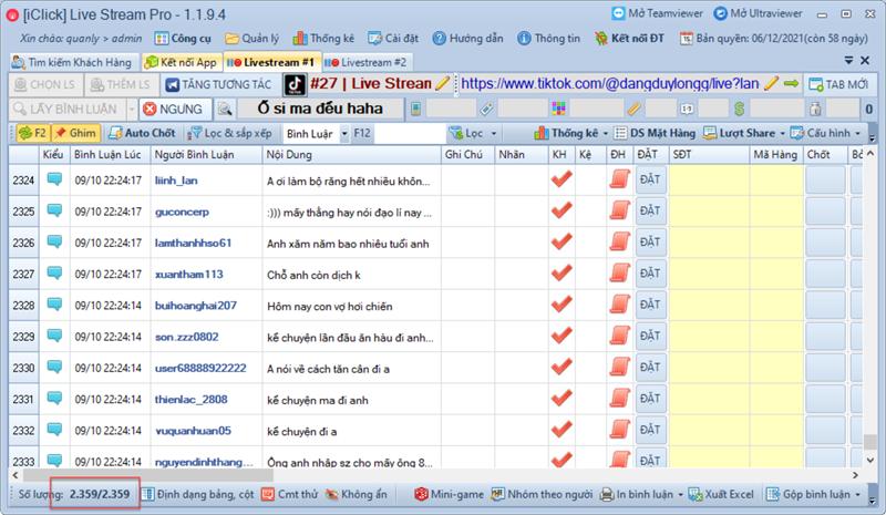 Phần mềm chốt đơn livestream TikTok