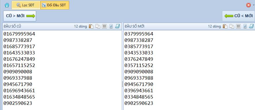 Phần mềm đổi đầu số điện thoại hàng loạt