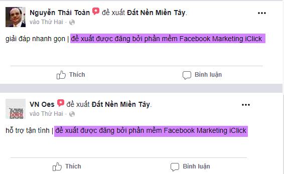 Dòng quảng cáo phần mềm Facebook Marketing trong nội dung đề xuất Fanpage