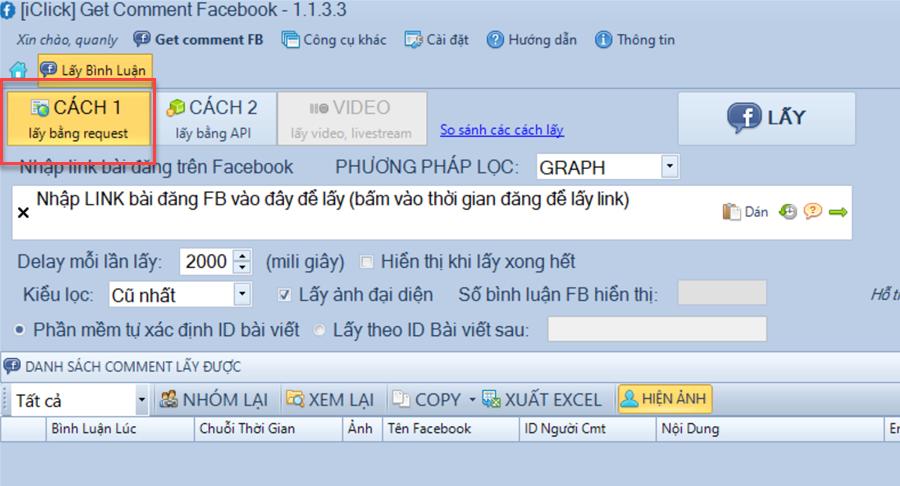 Phần mềm get comment facebook