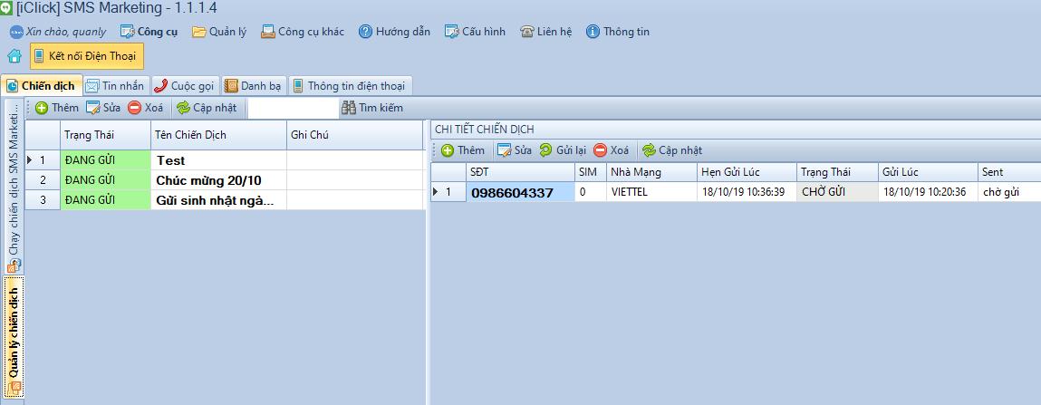 Phần mềm SMS Marketing phiên bản 1.1.1.4