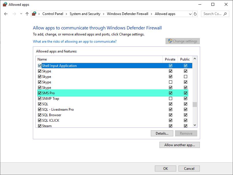 Hướng dẫn mở windows firewall cho điện thoại kết nối với phần mềm SMS Pro trên máy tính