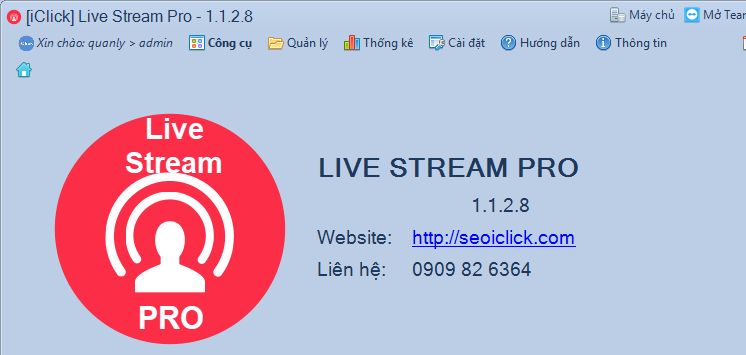 Phần mềm livestream pro phiên bản 1.1.2.8
