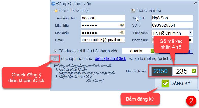 Hướng dẫn đăng ký mới tài khoản iClick