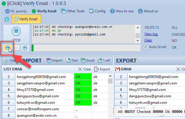 Phần mềm lọc email chết Verify Email iClick