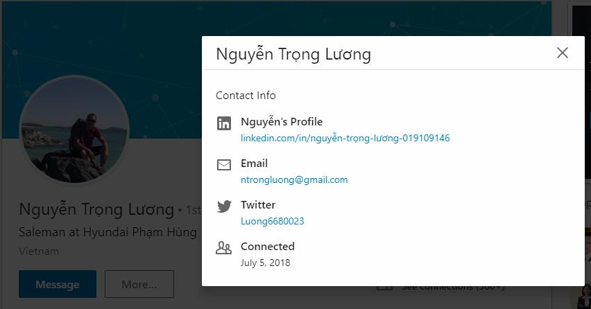 Lấy thông tin, email từ bạn bè (kết nối) trên LinkedIn
