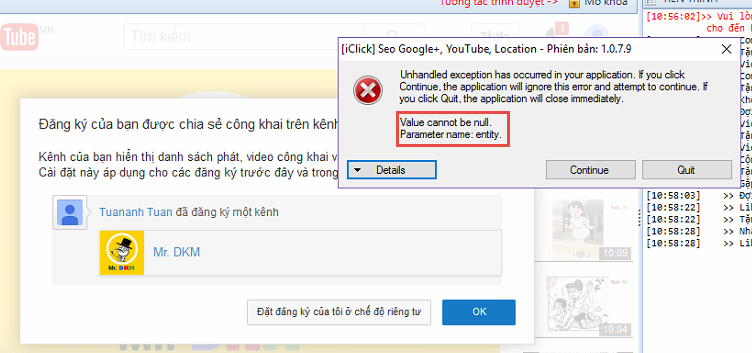 Lỗi Value cannot be null G+, phải bẩm Continue